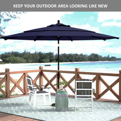 11ft Market Patio Umbrella Double-Vented 8 Rib Replacement Canopy Navy Olefin