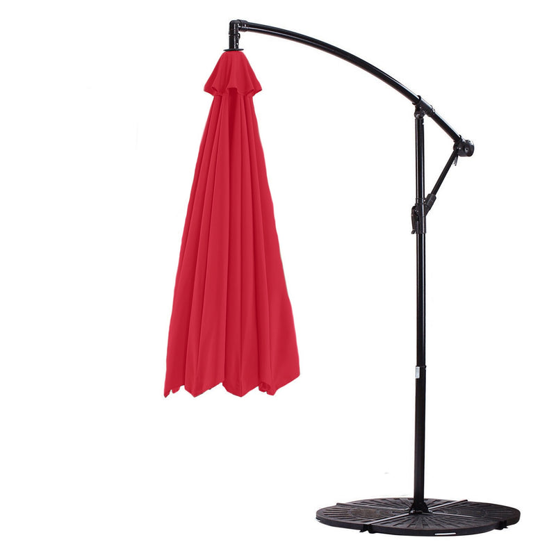10ft Cantilever Hanging Umbrella 8 Rib Replacement Canopy Red