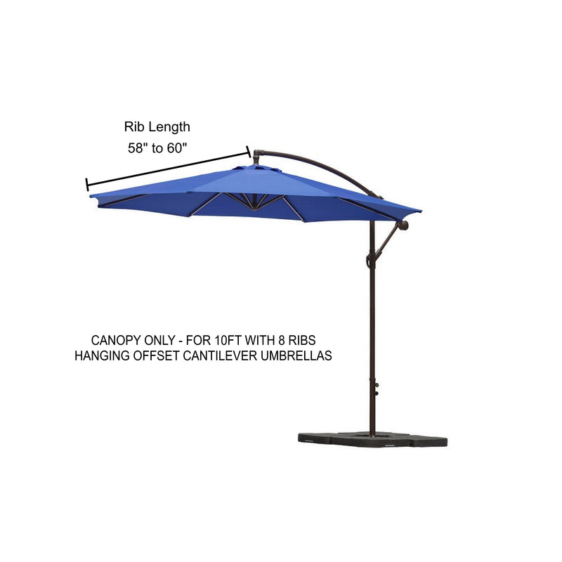 10ft Cantilever Hanging Umbrella 8 Rib Replacement Canopy Capri Blue Olefin