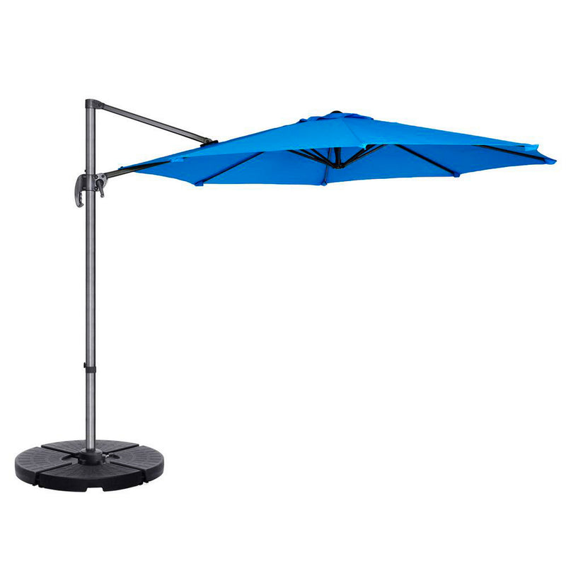 11ft Cantilever Supported Bar Umbrella 8 Rib Replacement Canopy Capri Blue Olefin Fabric