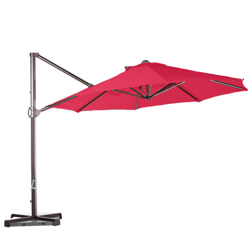 10ft Cantilever Supported Bar Umbrella 8 Rib Replacement Canopy Red