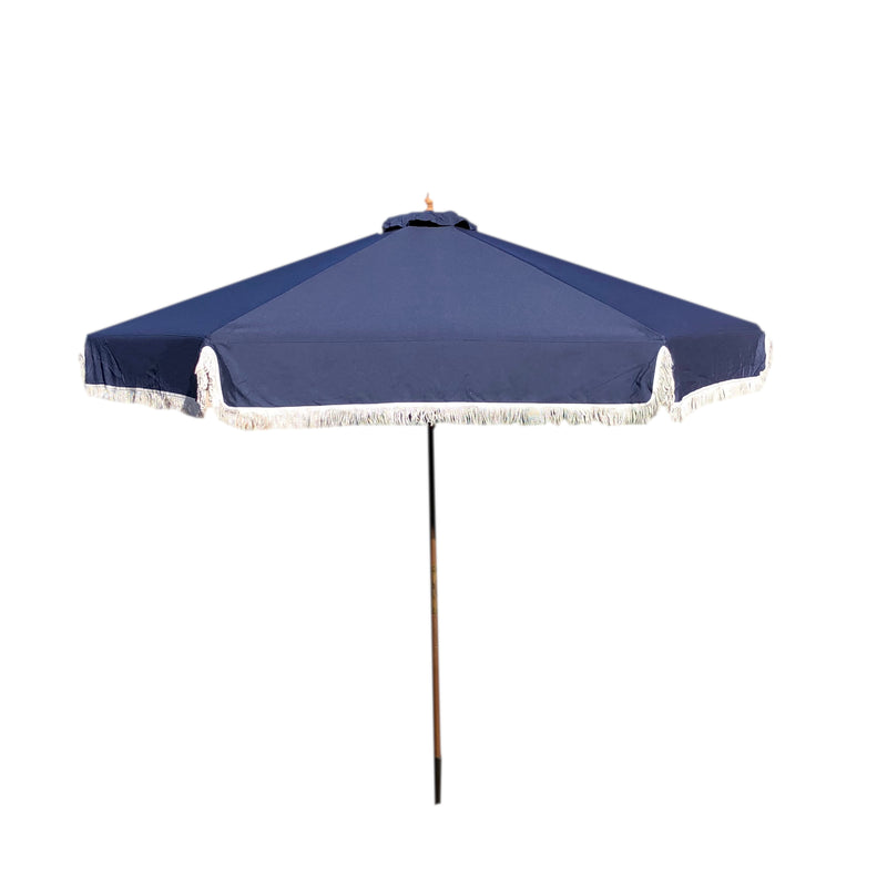 9ft 6 Ribs Replacement Umbrella Canopy w/Fringed Valance in Navy (Canopy Only)