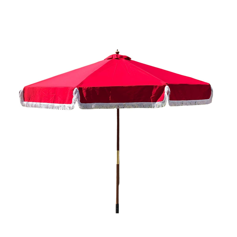 9ft 6 Ribs Replacement Umbrella Canopy w/Fringed Valance in Red (Canopy Only)