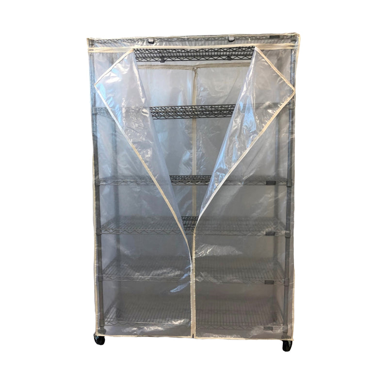 "Storage Shelving Unit Cover, fits racks 48""W x 18""D x 72""H all see through mesh PVC"