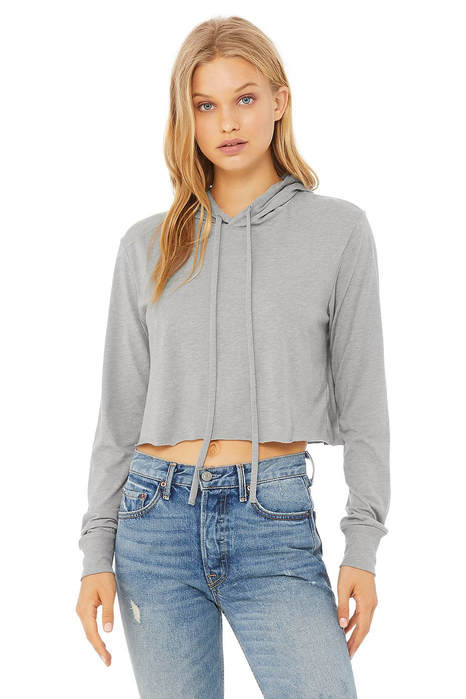 8512 Bella + Canvas Ladies' Cropped Long Sleeve Hooded T-Shirt - Customized