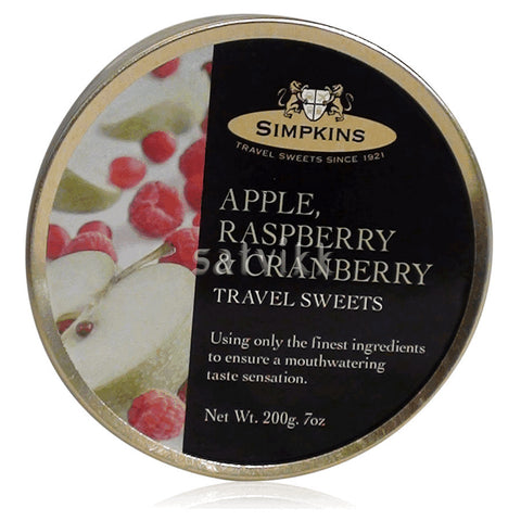 SIMPKINS APPLE RASPBERRY & CRANBERRY TRAVEL SWEETS 200G