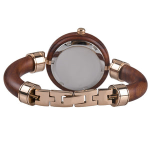 Montre en bois Femme Belombra santal rouge et or rose - bewell-france.com