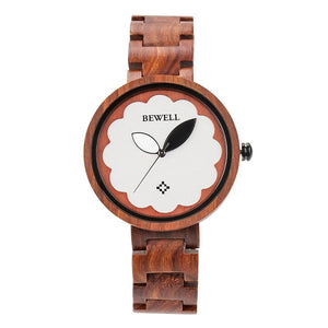 Montre en bois mixte Trees bois de santal rouge - bewell-france.com