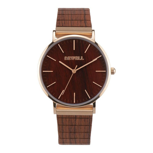 Montre en bois Mixte Elegant - santal rouge et or rose - bewell-france.com