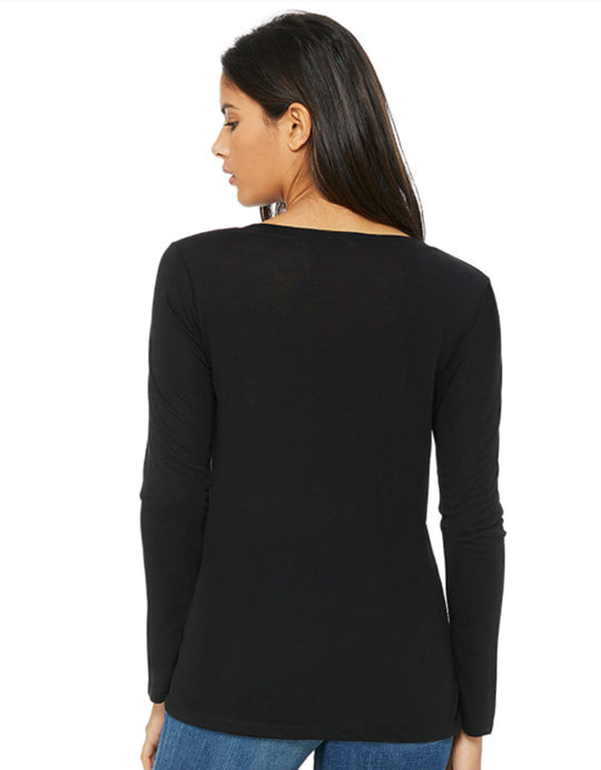 """Organic Curves"" Women Eco-friendly Flowy Long Sleeve V-Neck"