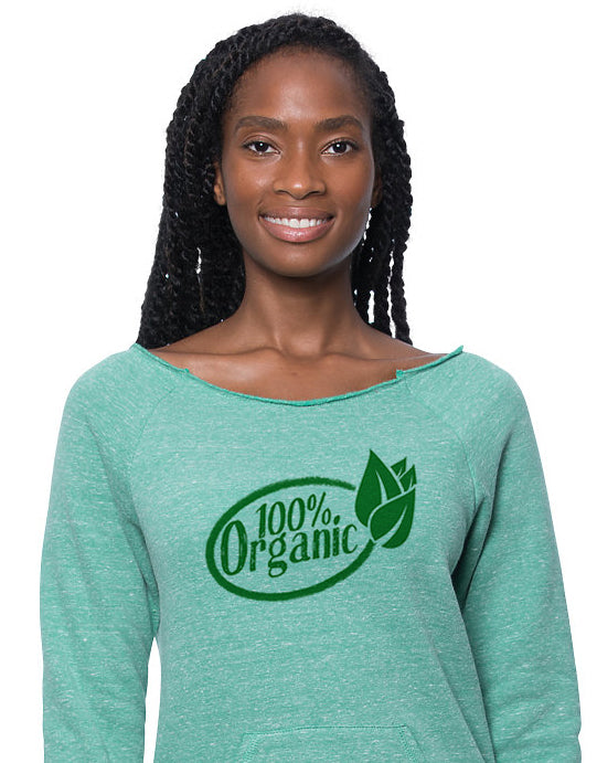 """100% Organic""  - Women Eco Triblend Fleece Raglan w/Pouch Pocket"