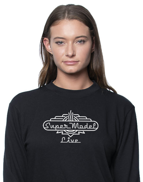 """Super Model Live""  - Women Organic Cotton French Terry Crew"