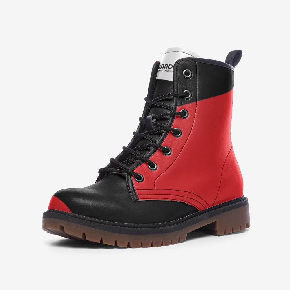 Nardo Organic Men Leather Army Boots - Bold Red