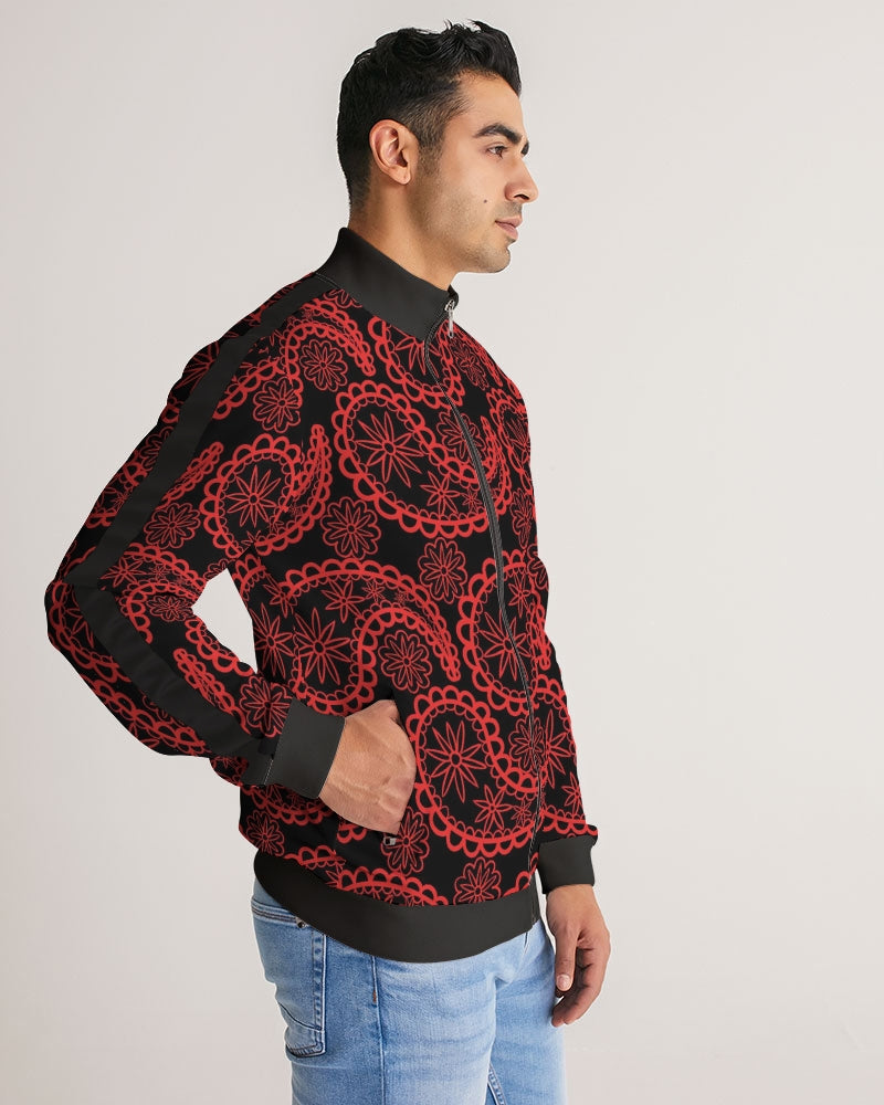 Black and Red Paisley Men's Stripe-Sleeve Track Jacket
