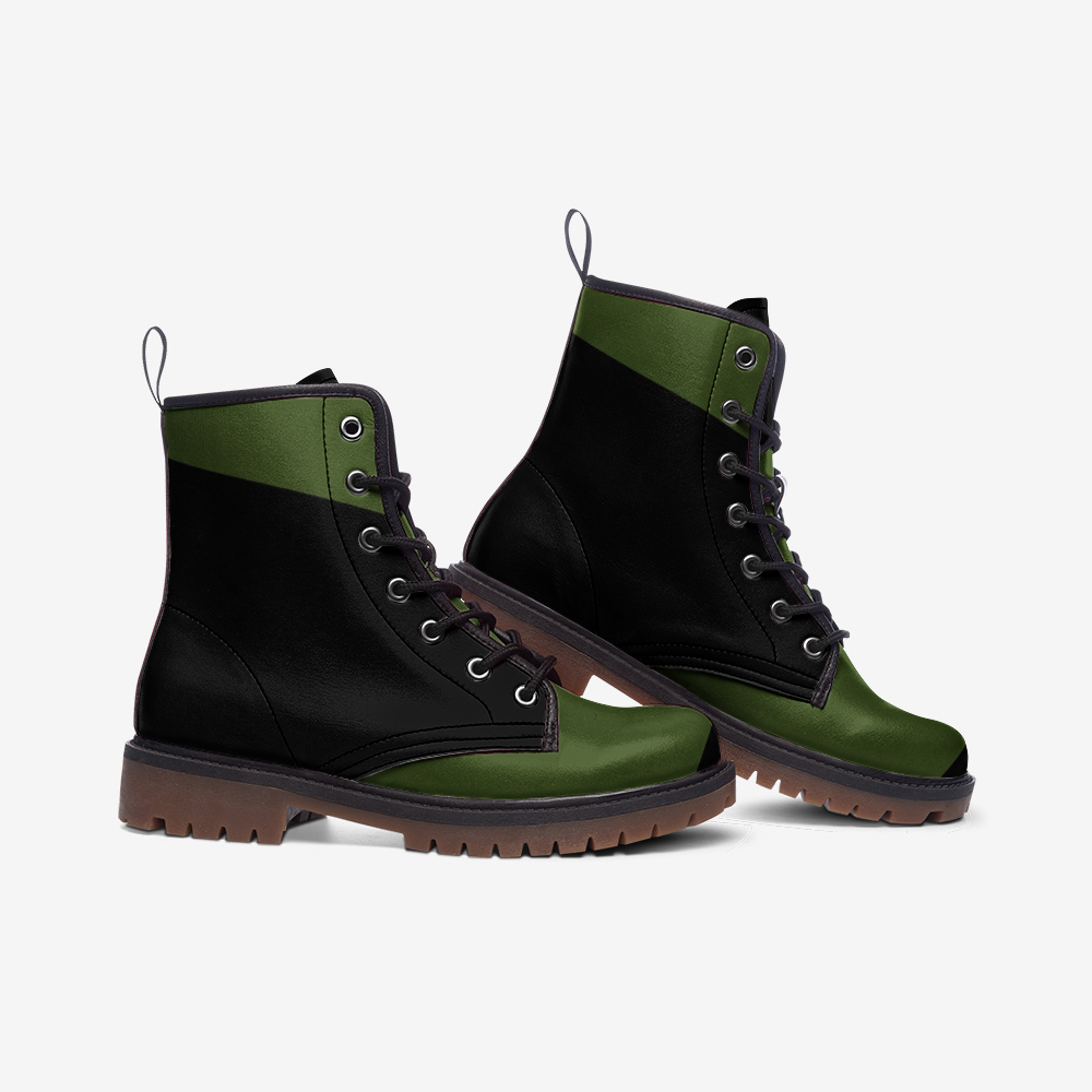 Nardo Organic Men Leather Army Boots - Bold Green