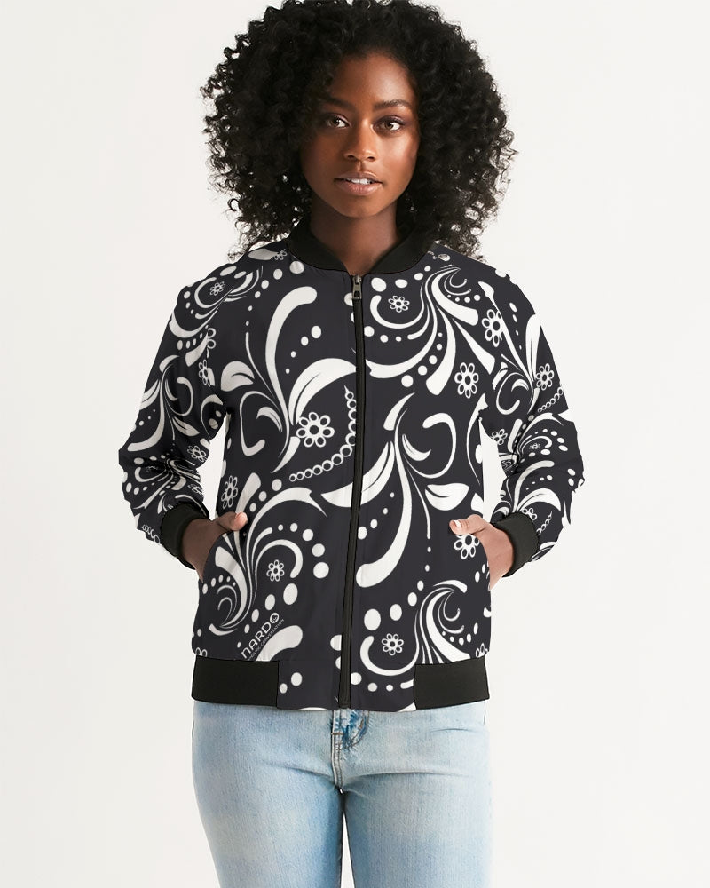 Paisley B&W Eco-friendly Women's Bomber Jacket