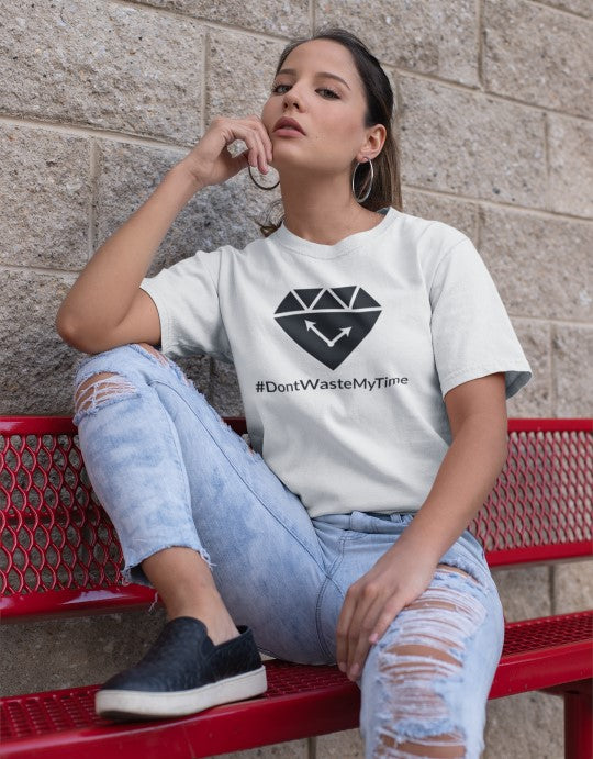 """#DontWasteMyTime"" Women Organic Cotton Tee - Iconic Fit"