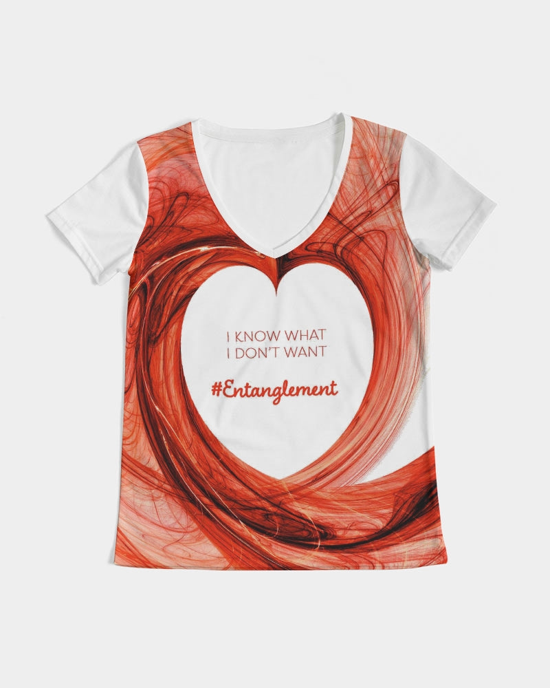 """I Know What I Don't Want #Entanglement"" - Women Eco-friendly Tee - V-Neck"