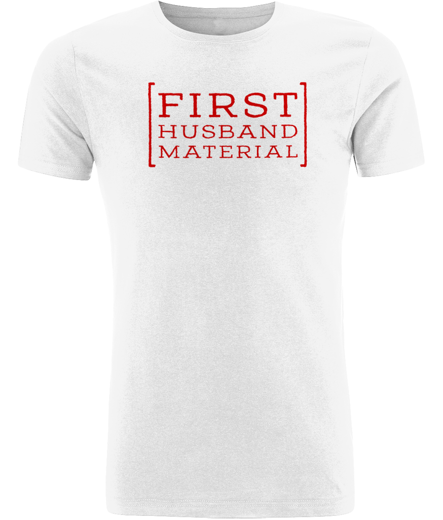 """First Husband Material"" Men Organic Cotton Tee - Slim Fit"