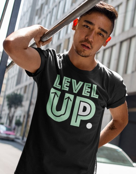 """Level-Up"" Men Organic Cotton Tee - Rolled Sleeve"