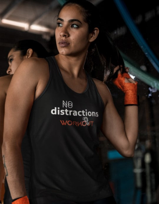 """No Distractions Workout"" Women Organic Cotton Racerback Sports Tanktop"
