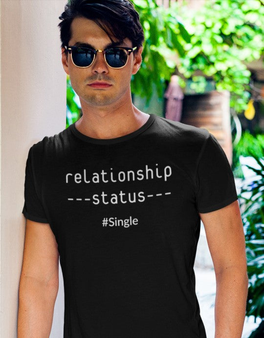 """Relationship status #Single"" Men Organic Cotton Tee - Slim Fit"