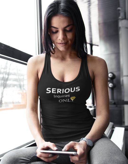 """Serious Inquiries Only"" Women Organic Cotton Racerback Sports Tanktop"