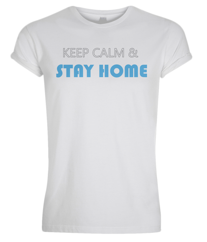 """Stay Home"" Men Organic Cotton Tee - Rolled Sleeve"