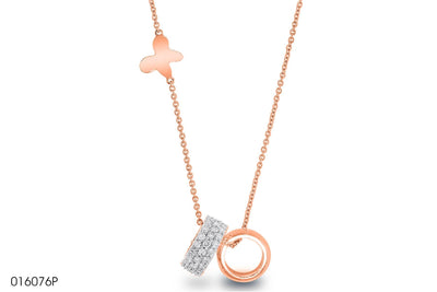 Accent Diamond Band Gold Pendant