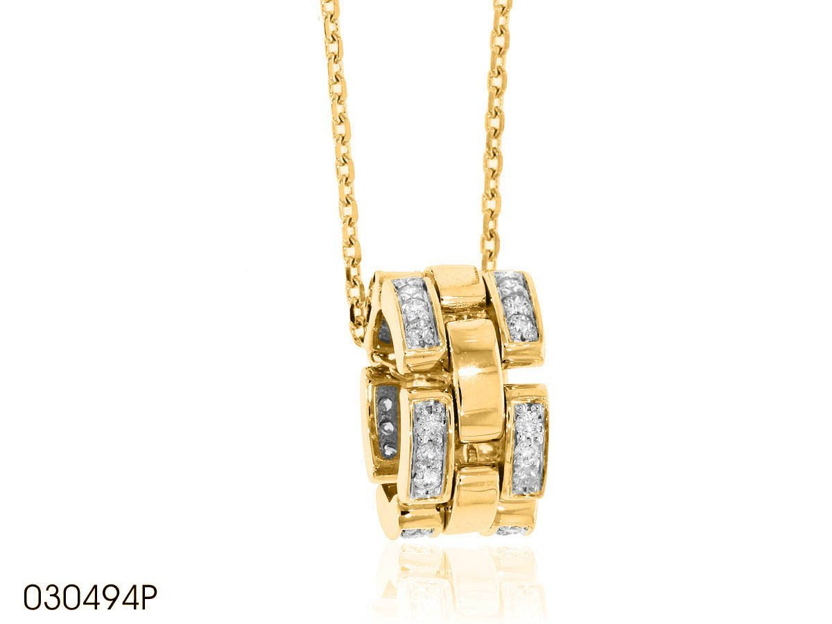 Round Diamond Bands Pendant In 18k Gold