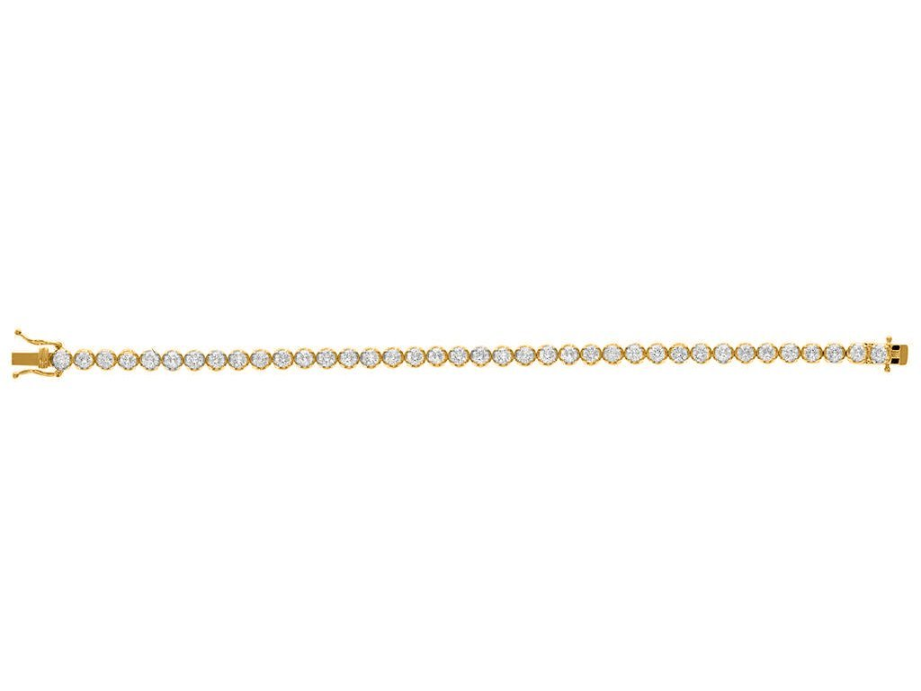 Bezel Diamonds Bead Bracelet in 18k Gold