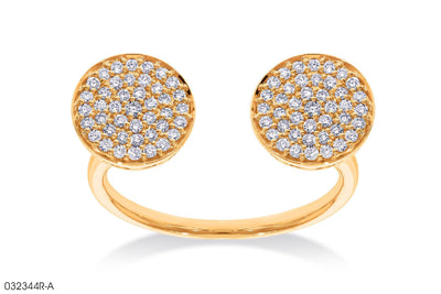 Two Sparkling Moon Gold Ring - Jeem Noon