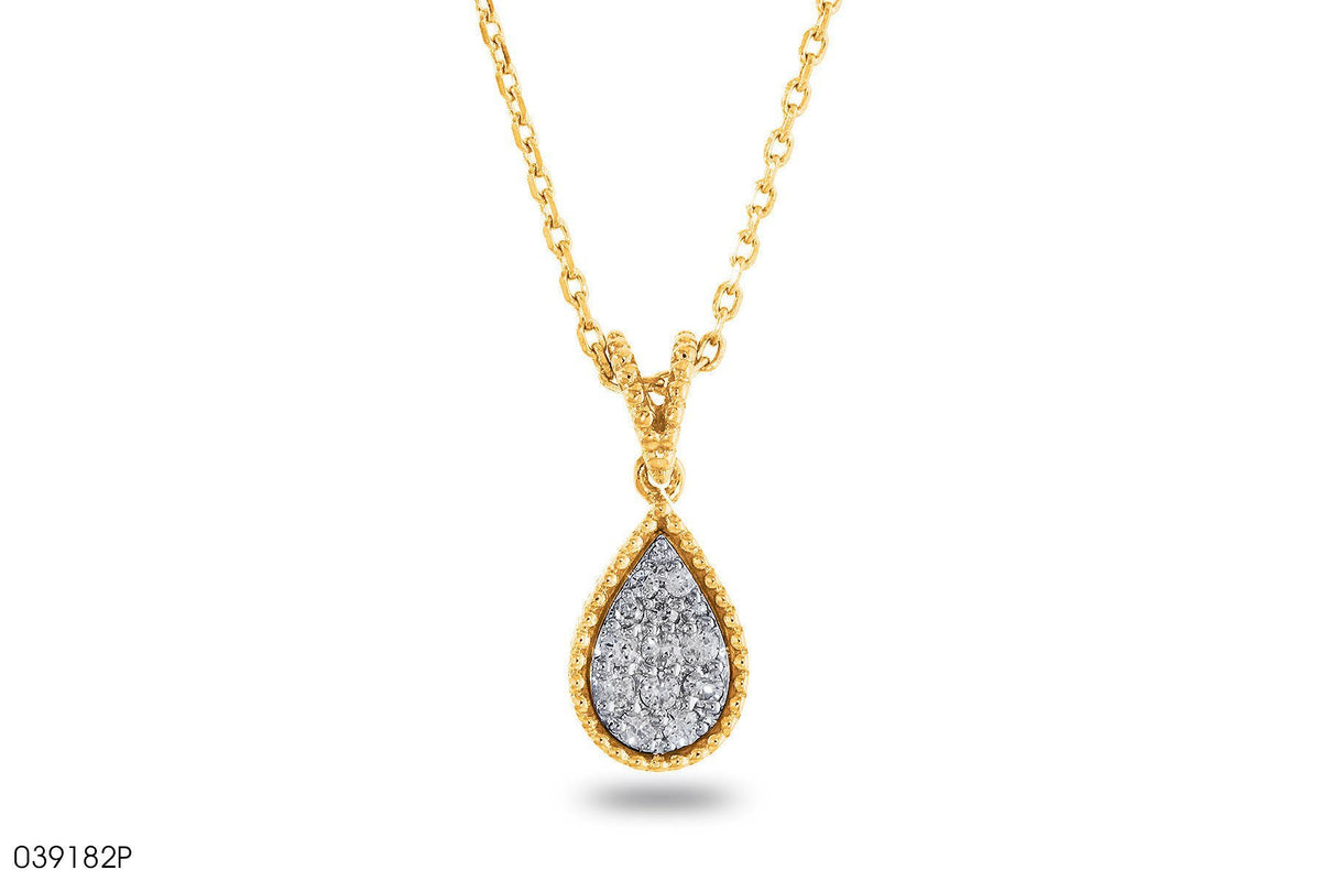 Accent Diamond Teardrop Pendant In 18k Gold