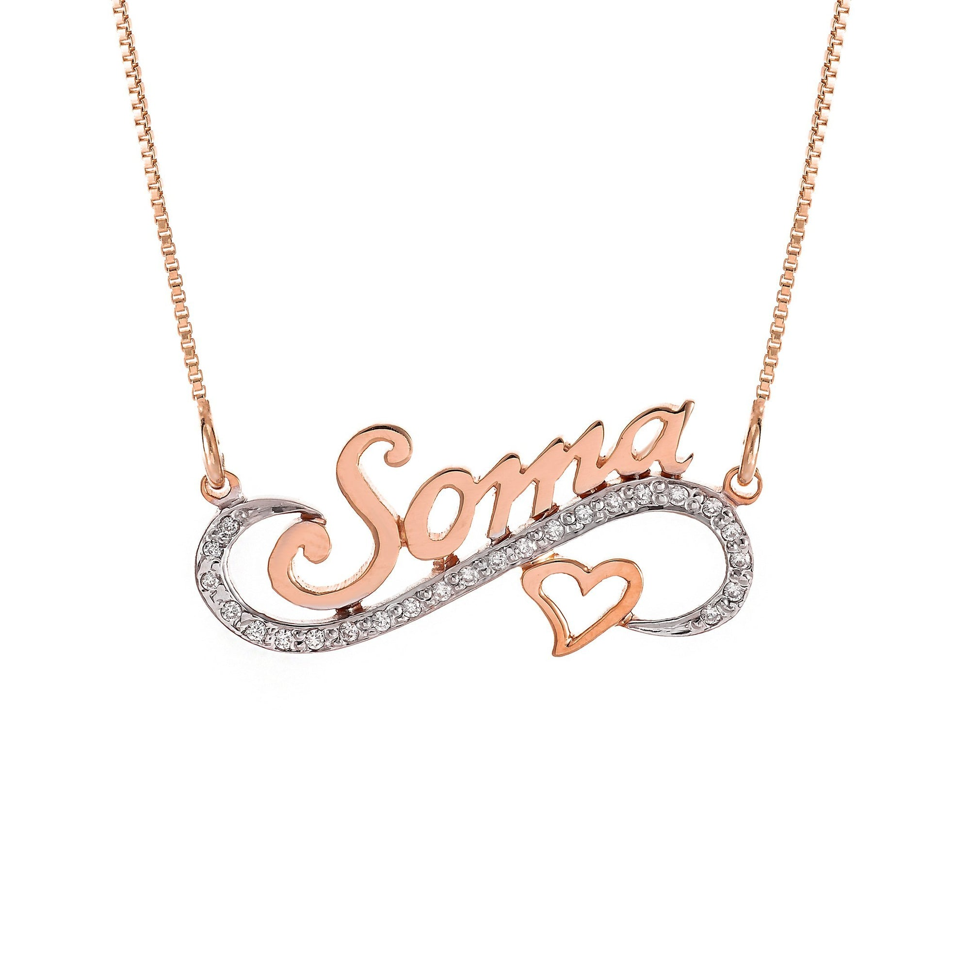 Melee Diamond Personalized Name Heart Pendant In 18K Gold