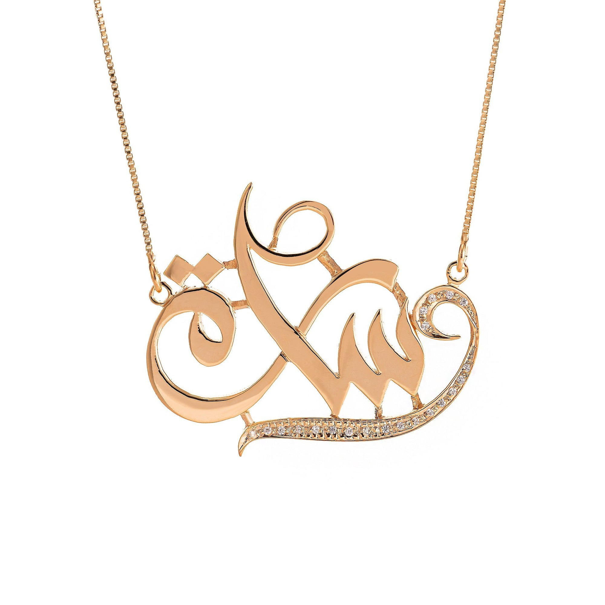 Personalized Name Diamond Pendant In 18K Gold