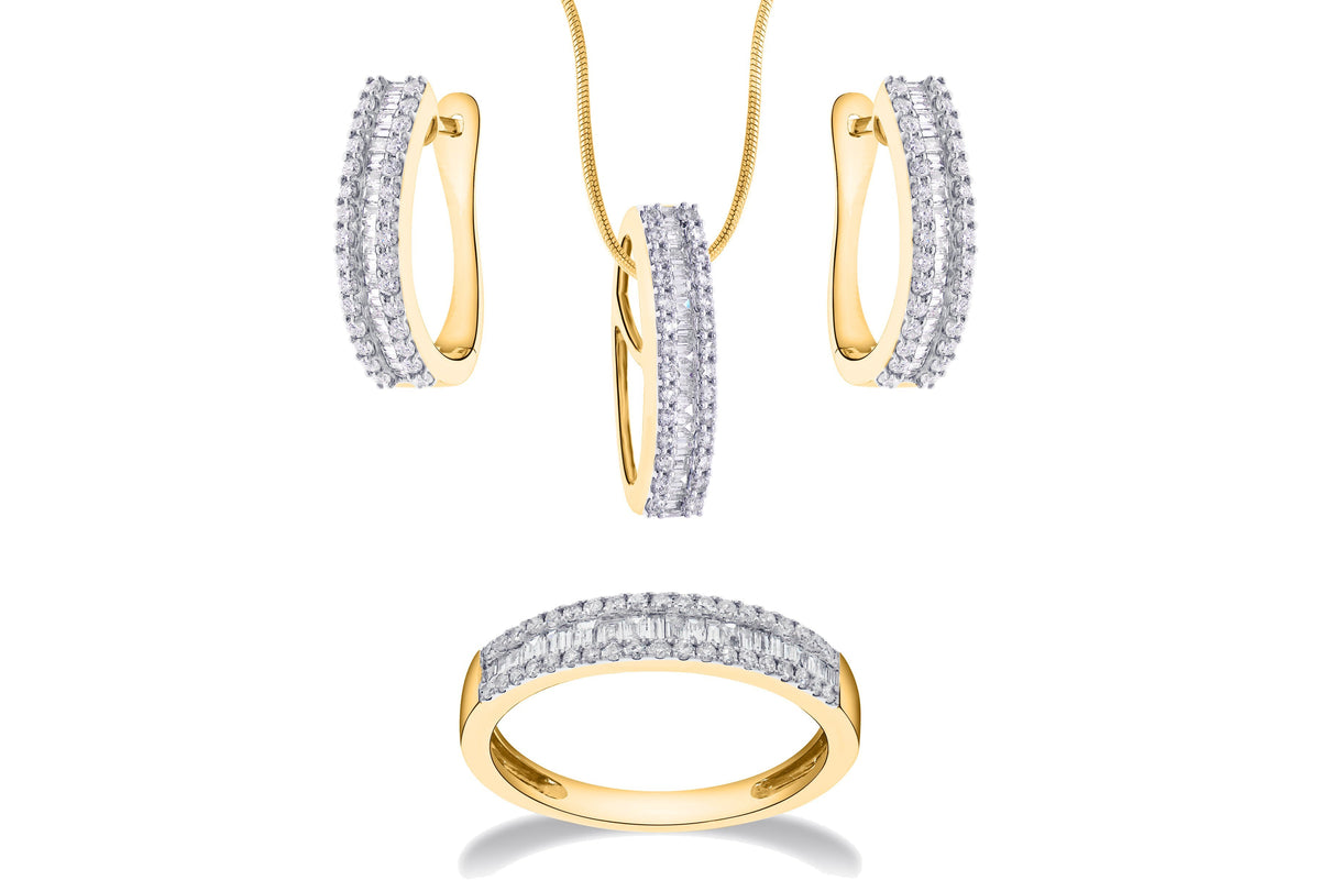 Triple Row Round & Baguette Diamond Half-Set In 18K Gold