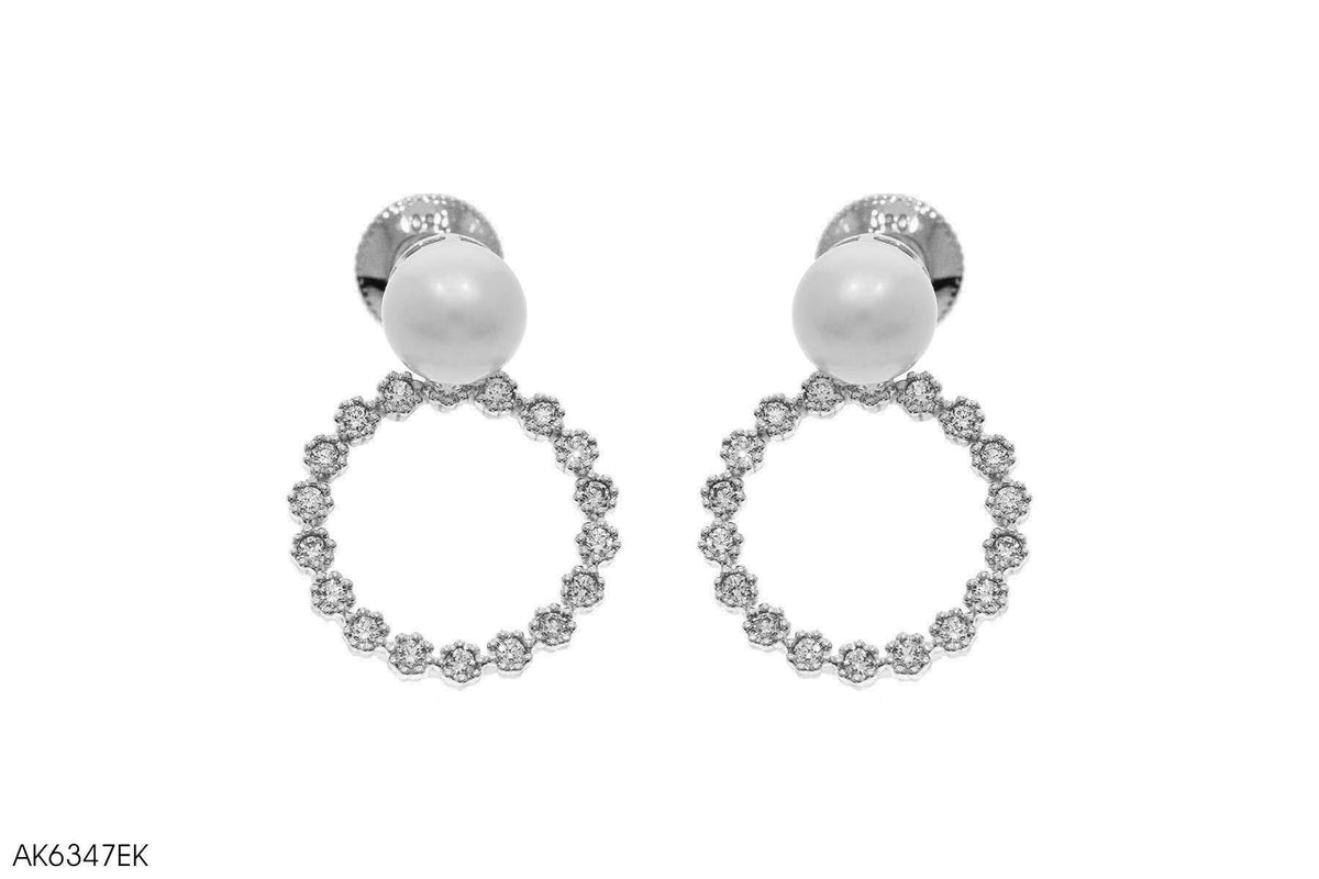 Fresh Water Pearl Accent Diamond Earring