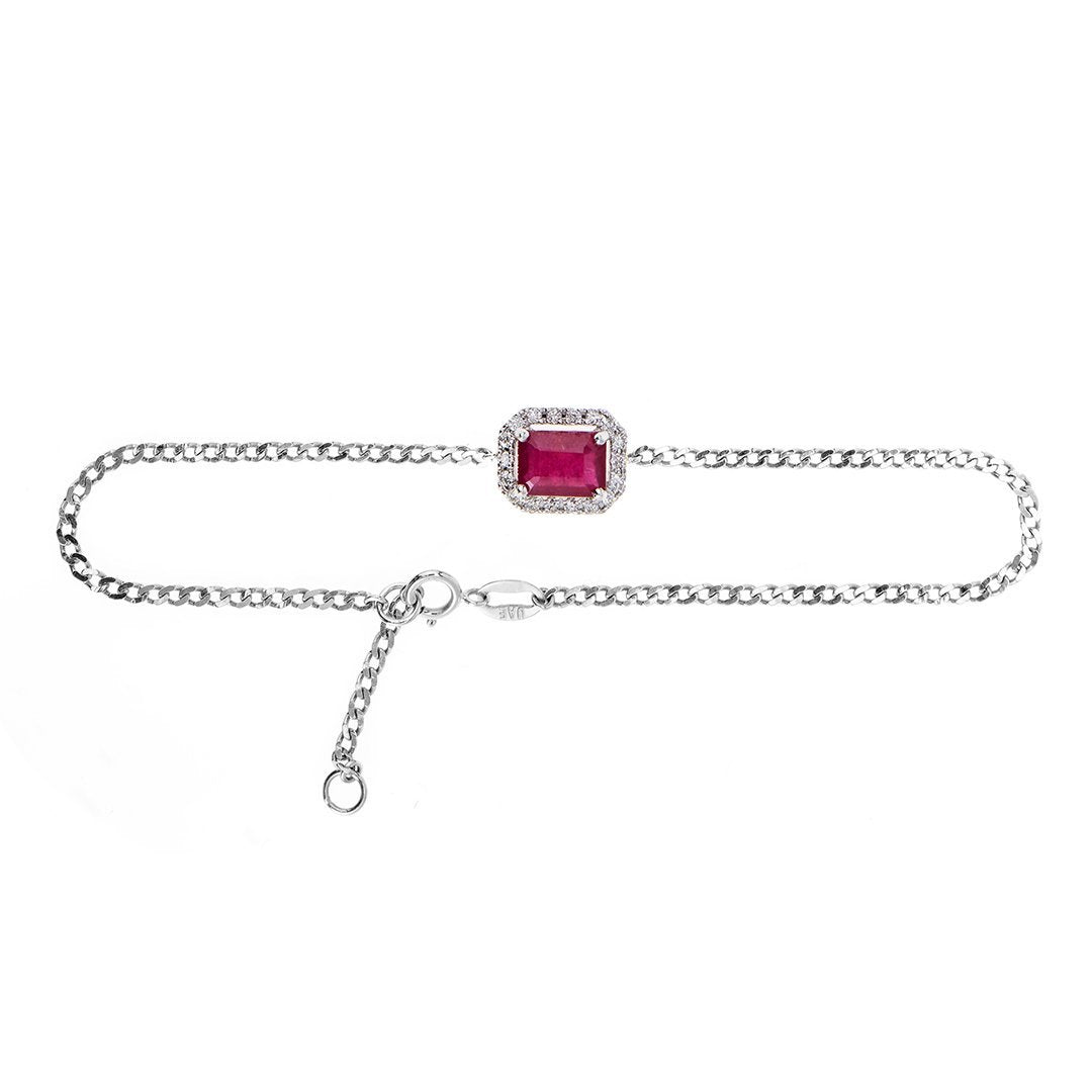 Emerald-Cut Ruby Diamond Bracelet In 18k Gold