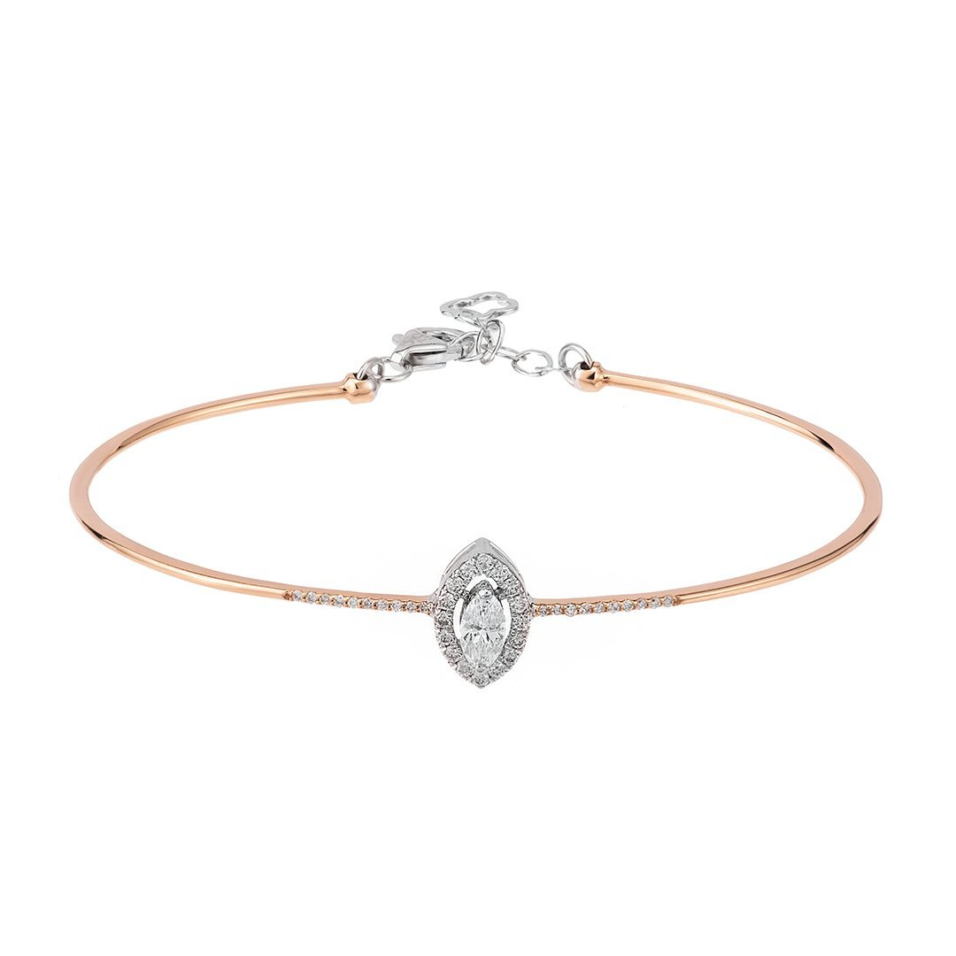 Halo Set Shimmering Diamond Bangle In Gold