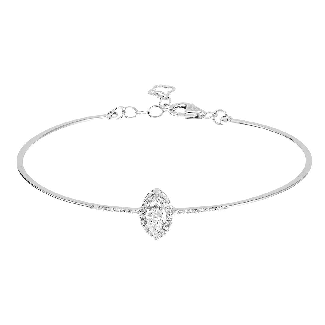 Sleek Round Diamond Bracelet In 18K White Gold