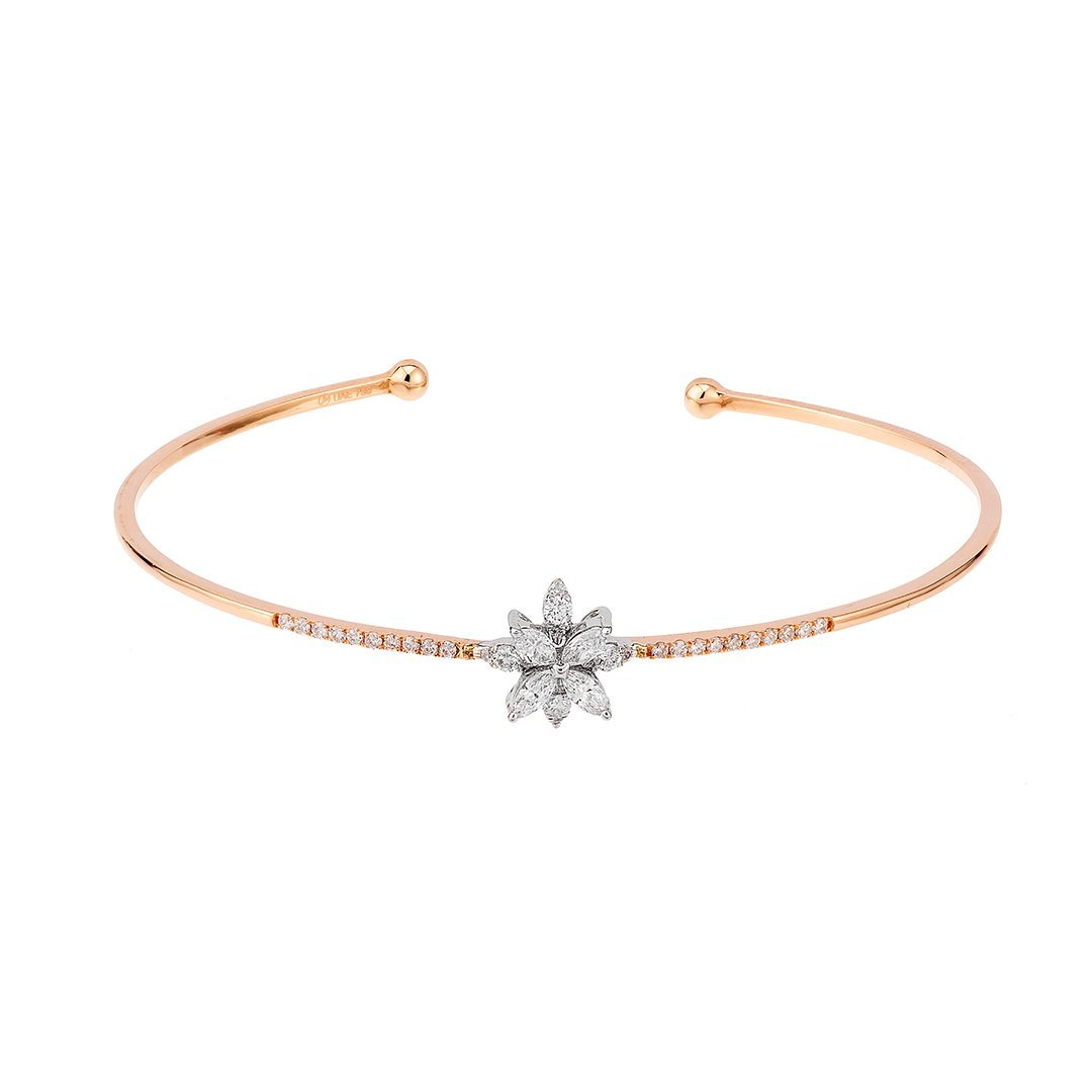 Magical Petals Diamond Bangle In Gold