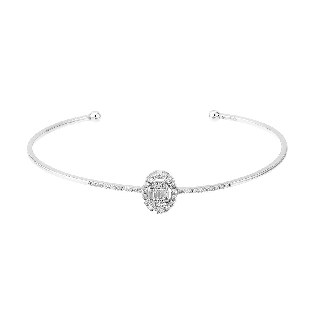Oval Frame Baguette Diamond Bangle