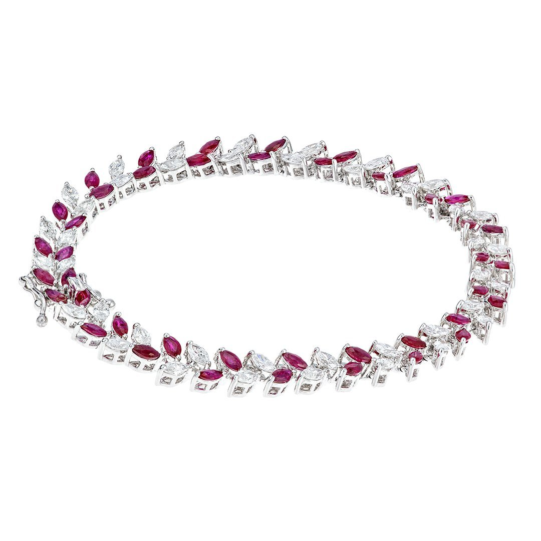 Elegant Ruby Diamond Bracelet In White Gold