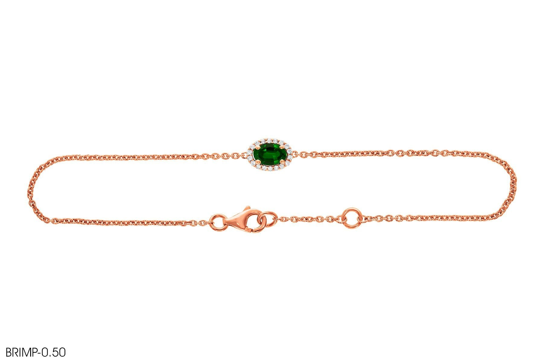 Emerald Diamond Bracelet In 18k Gold