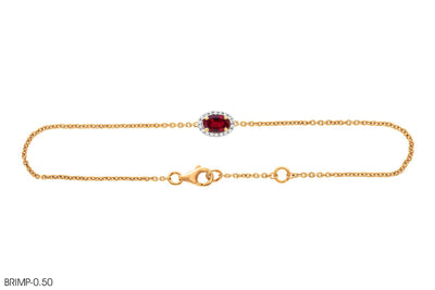 In 18k Gold Ruby Diamond Bracelet