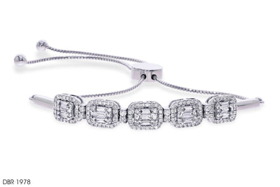 Halo Diamond Square Gold Bracelet