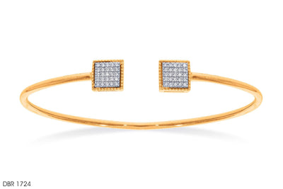 Diamond Square Ends Open Gold Bangle - Jeem Noon