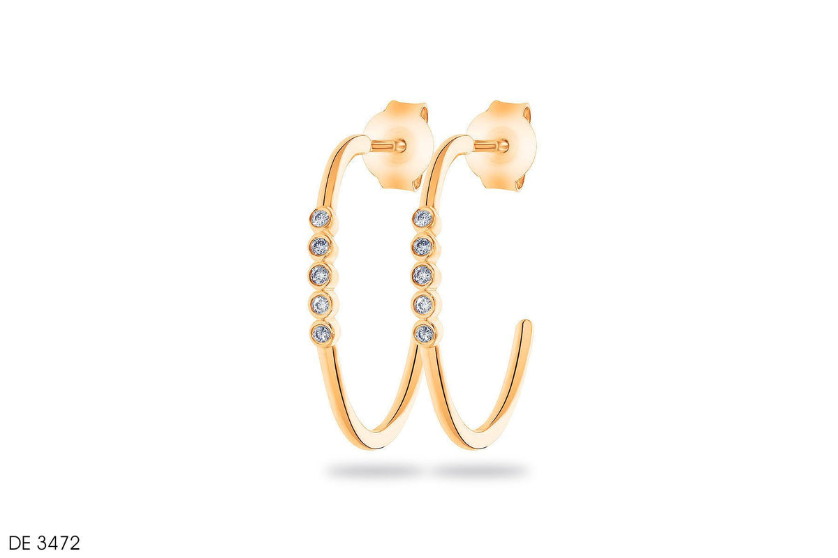 Halo & Half loop Gold Earrings - Jeem Noon