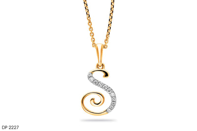 18k Gold S Letter Diamond Pendant