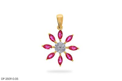 Royal Diamond Flower Gold Pendant